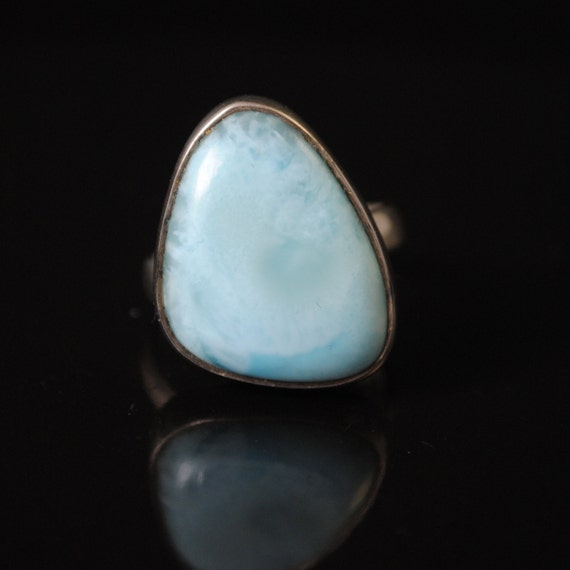 Sterling Silver Larimar Ring Sz 8  #10716