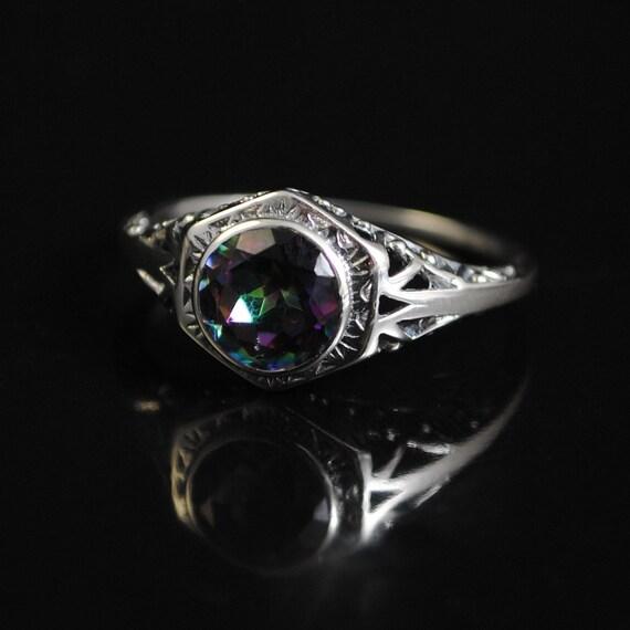 Sterling Silver Rainbow Topaz Art Nouveau Ring Sz 8  #11677