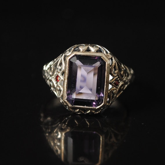 Sterling Silver Amethyst Art Deco Ring Sz 8 #12955