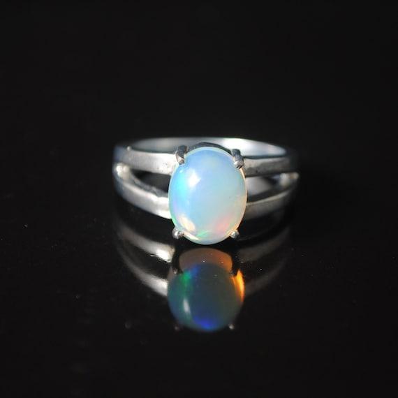 Sterling Silver Opal  Ring Sz 6.5  #13774
