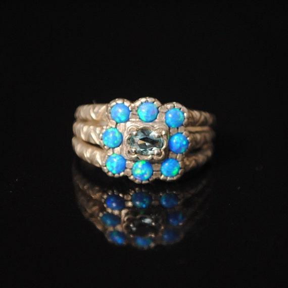 Sterling Silver Aquamarine Blue Fire Opal Art Deco Ring Sz 6  #7004
