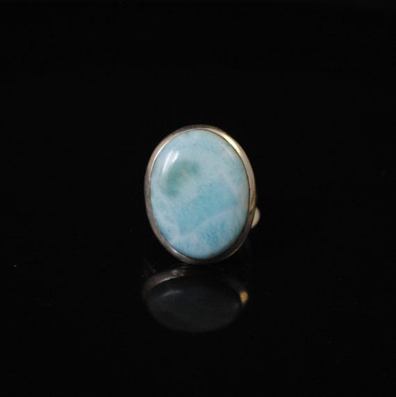 Sterling Silver Larimar Ring Sz 8  #11150