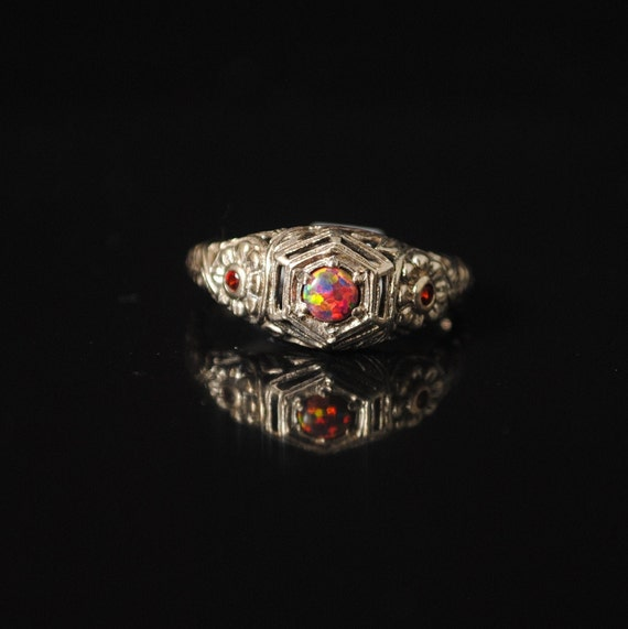 Sterling Silver Red Fire Opal Garnet  Art Deco Ring Sz 6 #12966