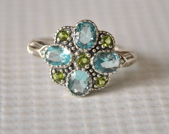 Sterling Silver Aquamarine Peridot Ring Sz 7 #9780