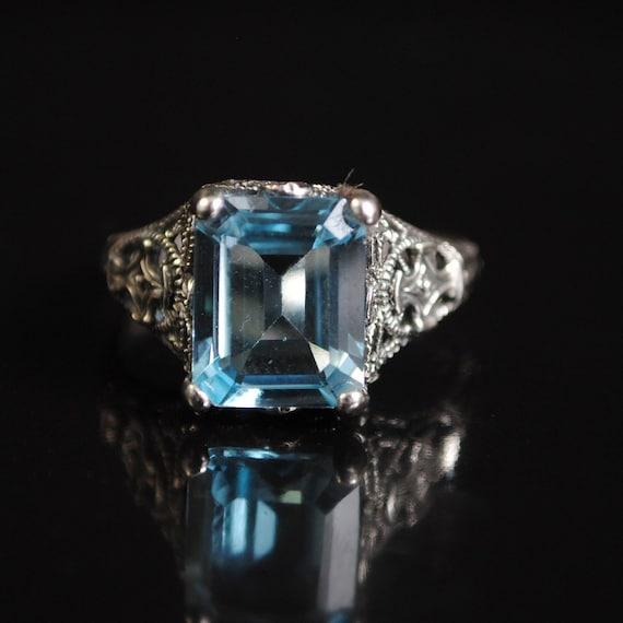 Sterling Silver Aquamarine Art Deco Ring Sz 7  #11691