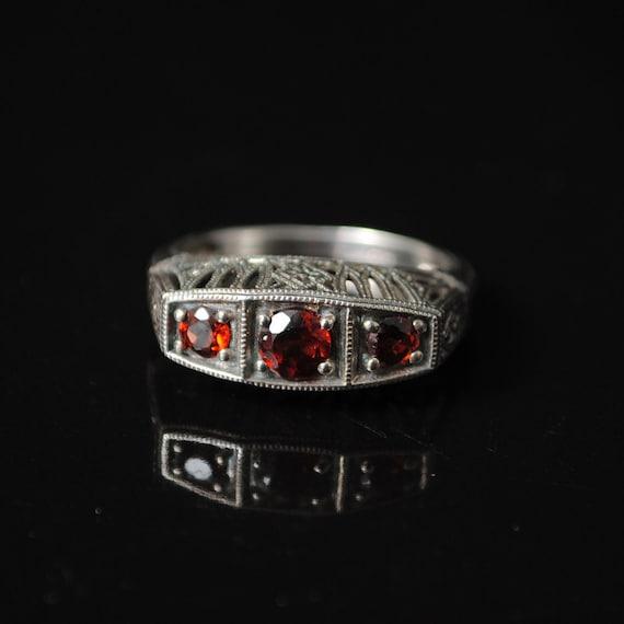 Sterling Silver Garnet Art Deco Ring Sz 6 #6896