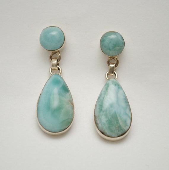 Sterling Silver Larimar 2 Stone Teardrop Earrings #11871