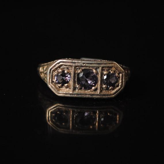 Sterling Silver Amethyst Edwardian Ring Sz 7 #8448