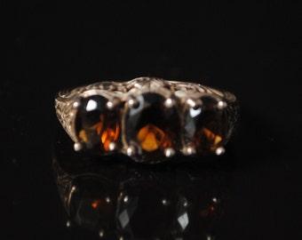 Sterling Silver Smoky Topaz Art Deco Ring Sz 8 #8437