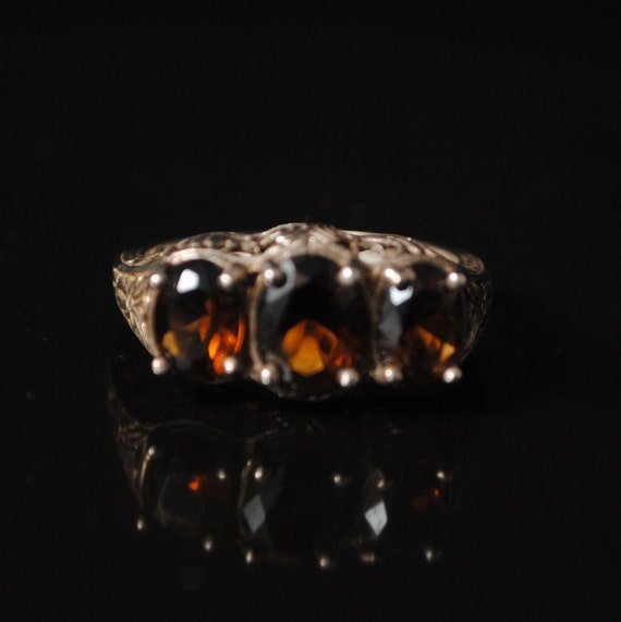 Sterling Silver Smoky Topaz Art Deco Ring Sz 8 #8437