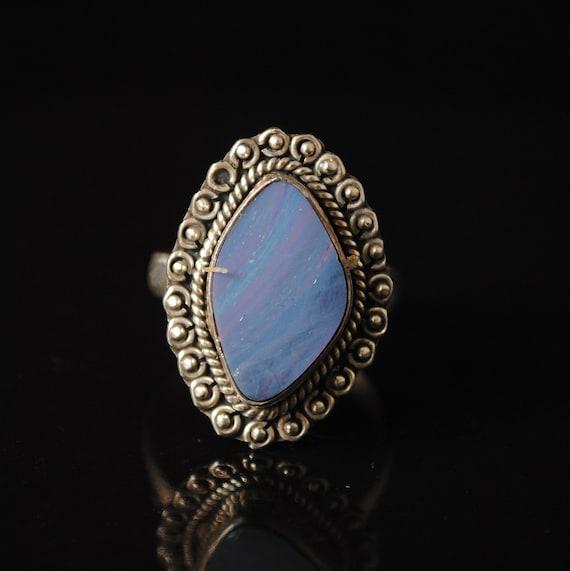 Sterling Silver Blue Australian Opal Ring Sz 7.5 #131377