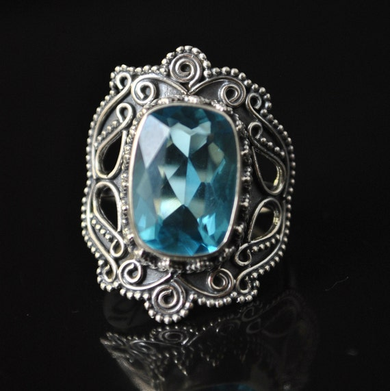 Sterling Silver Blue Topaz Ring Sz 6.5 #10321