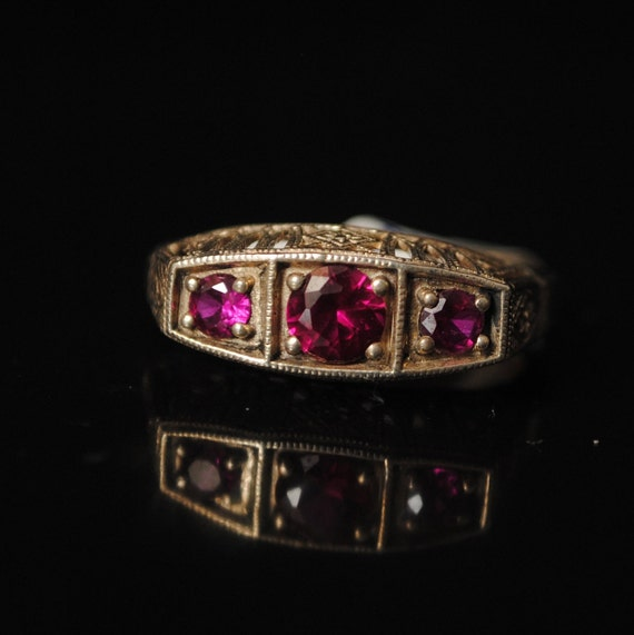 Sterling Silver Ruby Edwardian Ring Sz 7 #8400