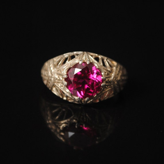 Sterling Silver Ruby Art Deco Ring Sz 7 #7595
