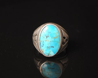 Sterling Silver Native American Turquoise Ring Sz 10 #13285