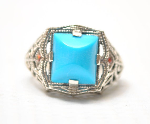Sterling Silver Antique Style Art Nouveau Turquoise  Opal Filigree Ring Sz 6  #7954