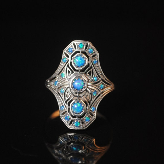 Sterling Silver Blue Opal Art Nouveau Ring Sz 9 #13336