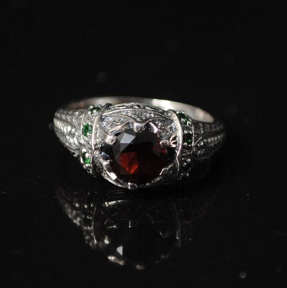 Sterling Silver Garnet Emerald Art Deco Ring Sz 6 #11525