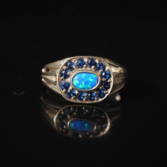 Sterling Silver Sapphire Fire Opal Art Deco Ring Sz 6 #12400