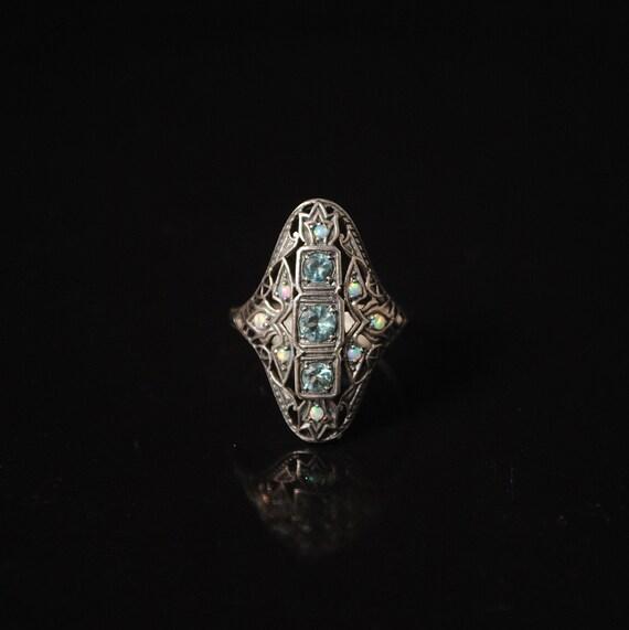 Sterling Silver Aquamarine Fire Opal Art Deco Ring Sz 6  10308
