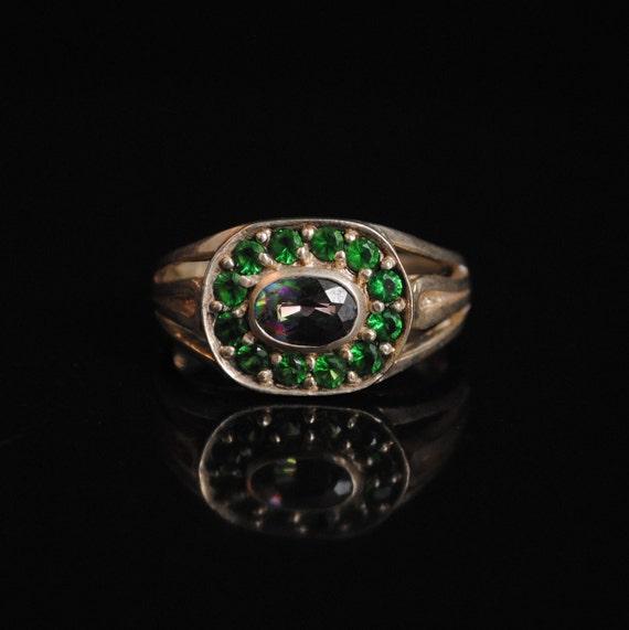 Sterling Silver Rainbow Topaz Emerald  Art Deco Ring Sz 7 #5242