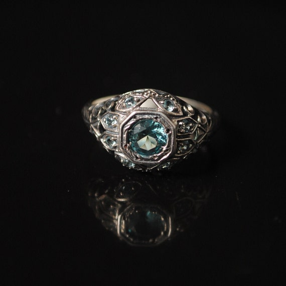 Sterling Silver Aquamarine Art Deco Ring Sz 7 #12353