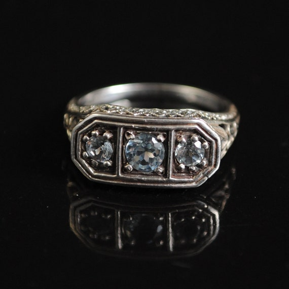 Sterling Silver Aquamarine Art Deco Ring Sz 6 #11650