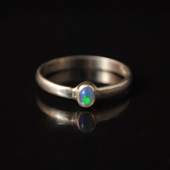 Sterling Silver Ethiopian Opal Ring Sz 12.5 #11217