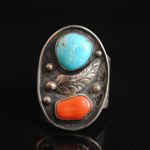 Sterling Silver Native American Navajo Turquoise Coral Ring Sz 12 #13266