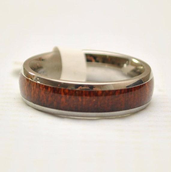 Hawaiian Koa Wood Thin Band in Stainless Steel Ring Sz 9 #7656