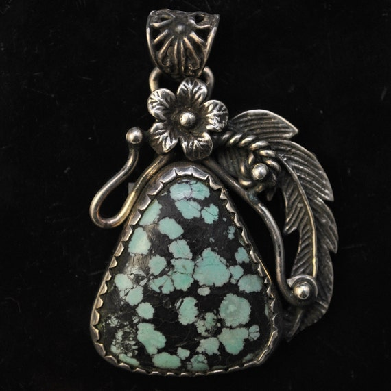 Sterling Silver Tibetan Turquoise Pendant Native American Style #11232