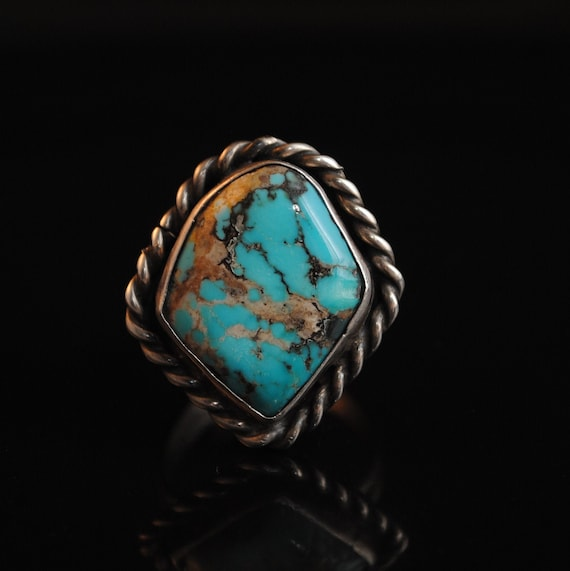 Sterling Silver Native American Navajo Turquoise Ring Sz 11.5 #13273