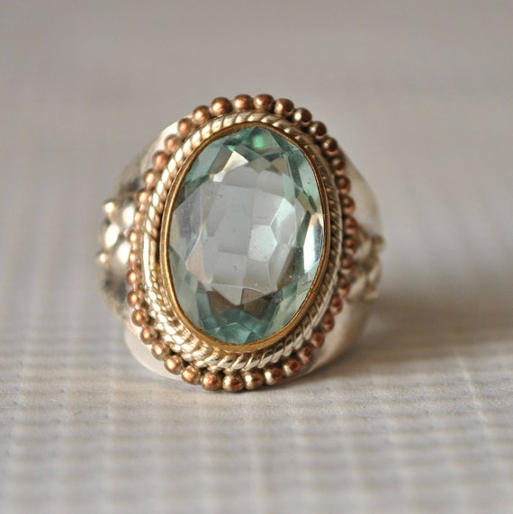 Sterling Silver Victorian Aquamarine Ring Sz 7.75 #9842