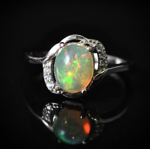 Sterling Silver Opal  Ring Sz 7  #10019