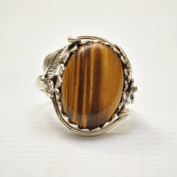 Sterling Silver Tiger Eye Sz 8.5 #9242