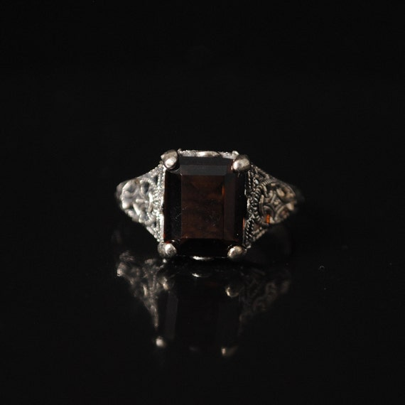 Sterling Silver Smoky Topaz Art Nouveau Ring Sz 8 #12994
