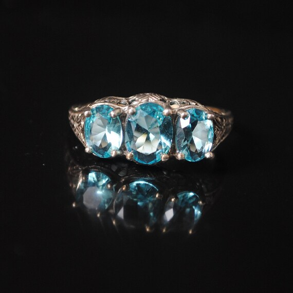 Sterling Silver Victorian Aquamarine Ring Sz 9 #12392
