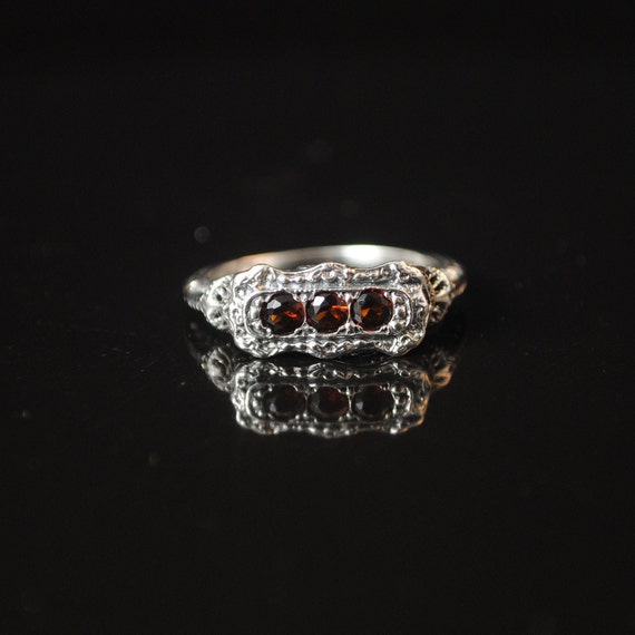 Sterling Silver Fire Garnet Edwardian Ring Sz 8 #13326