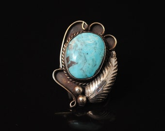 Sterling Silver Native American Turquoise Ring Sz 5.25 #13736
