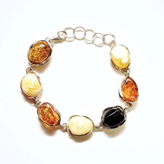Sterling Silver Multi Color Amber Bracelet #10788