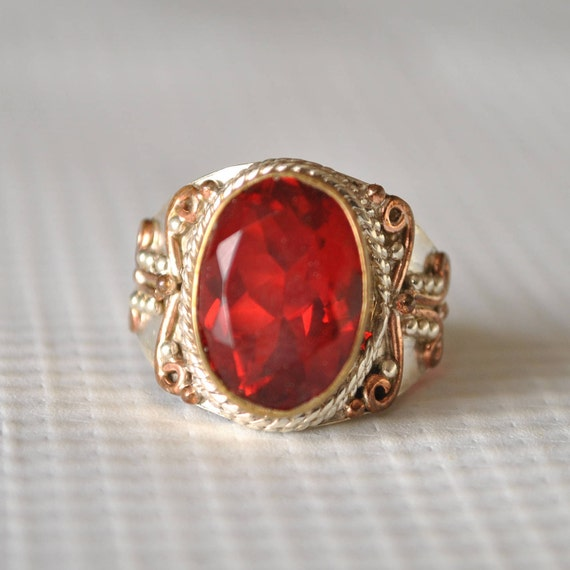 Sterling Silver Garnet Fire Ring Sz 7.25 #9805