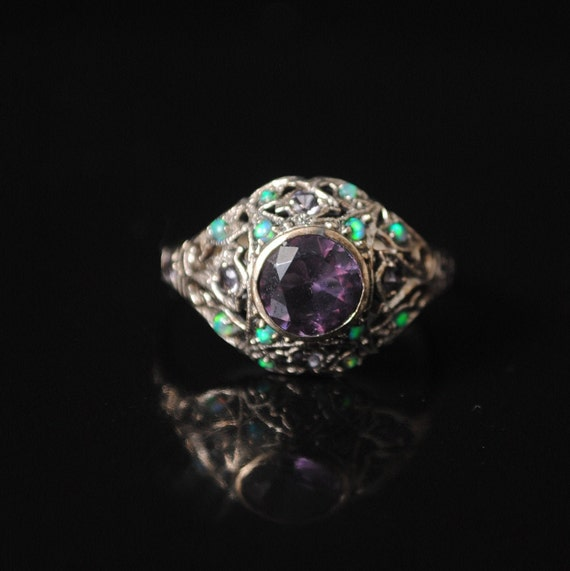 Sterling Silver Amethyst Opal Art Deco Ring Sz 8 #12993