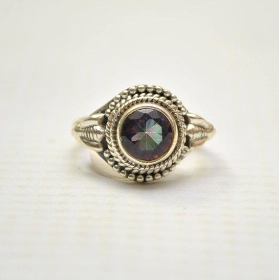 Sterling Silver Rainbow Topaz Sz 6 #9248