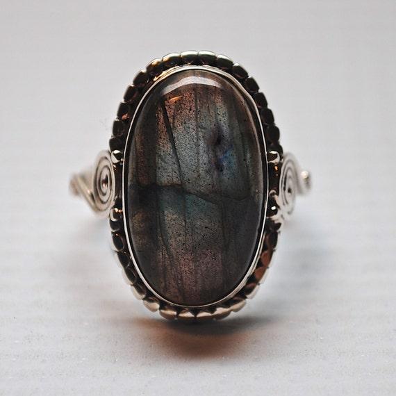 Sterling Silver Labradorite Ring Sz 7.5 #4492