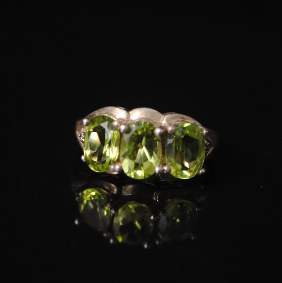 Sterling Silver Antique Style Art Deco Peridot Ring Sz 6  #6909