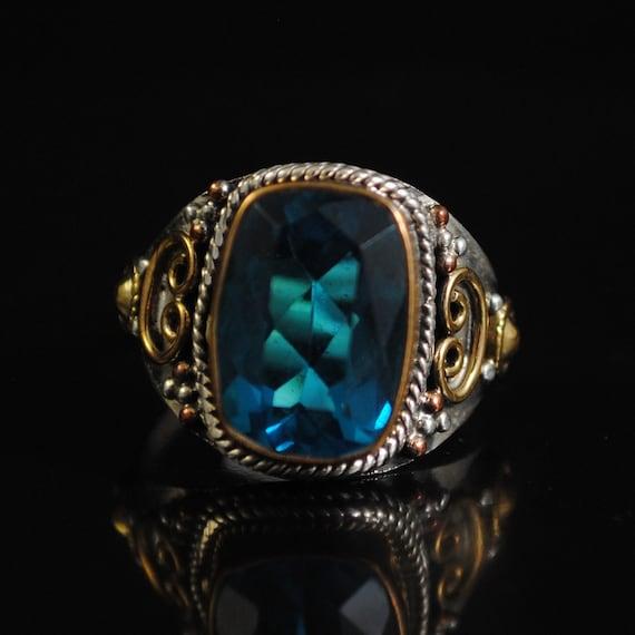 Sterling Silver Blue Topaz Ring Sz 8.75 #11693