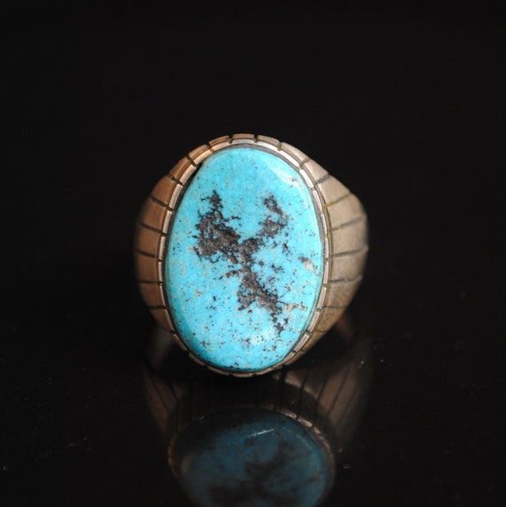 Sterling Silver Native American Navajo Turquoise Ring Sz 11.75 #13284A