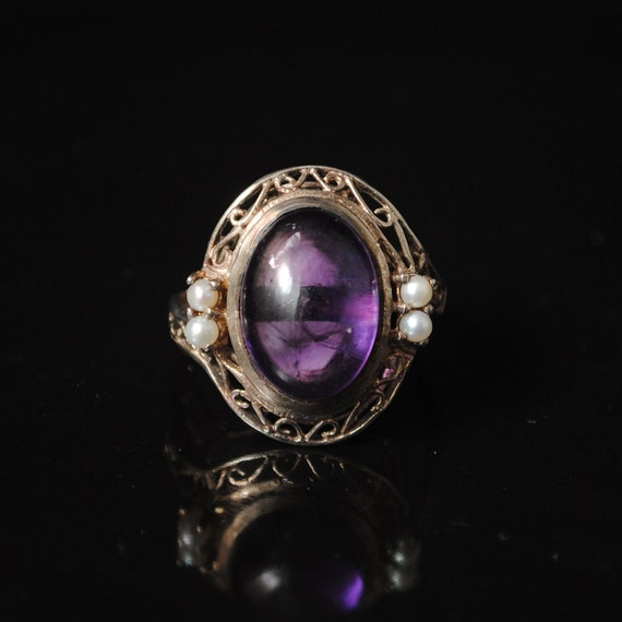 Sterling Silver Antique Style Amethyst Pearl Edwardian Ring Sz7  #6882