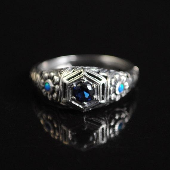 Sterling Silver Blue Sapphire Art Deco Ring Sz 7 #11651
