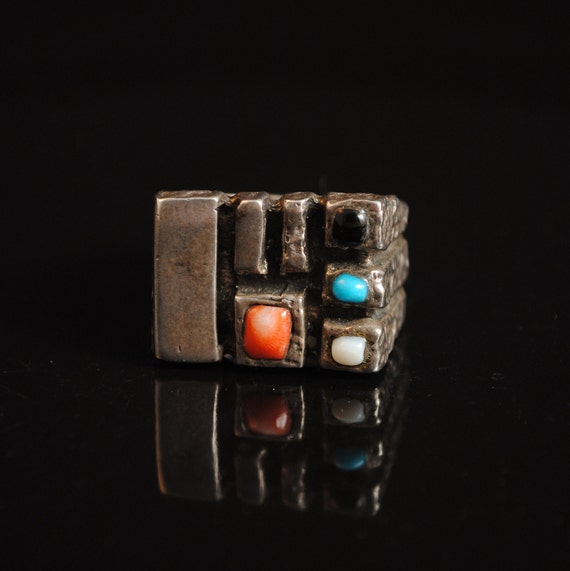 Sterling Silver Native American Navajo Turquoise Ring Sz 12 #12568